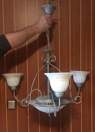 Lámparas de bronce pintadas en plata envejecida