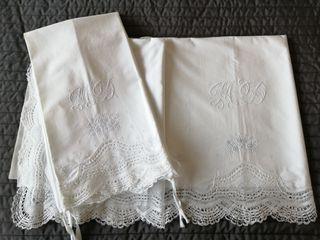 sábanas antiguas algodón con puntilla