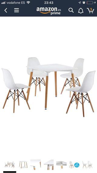 Mesa cuadrada 80 cm + 4 sillas(envio gratis)