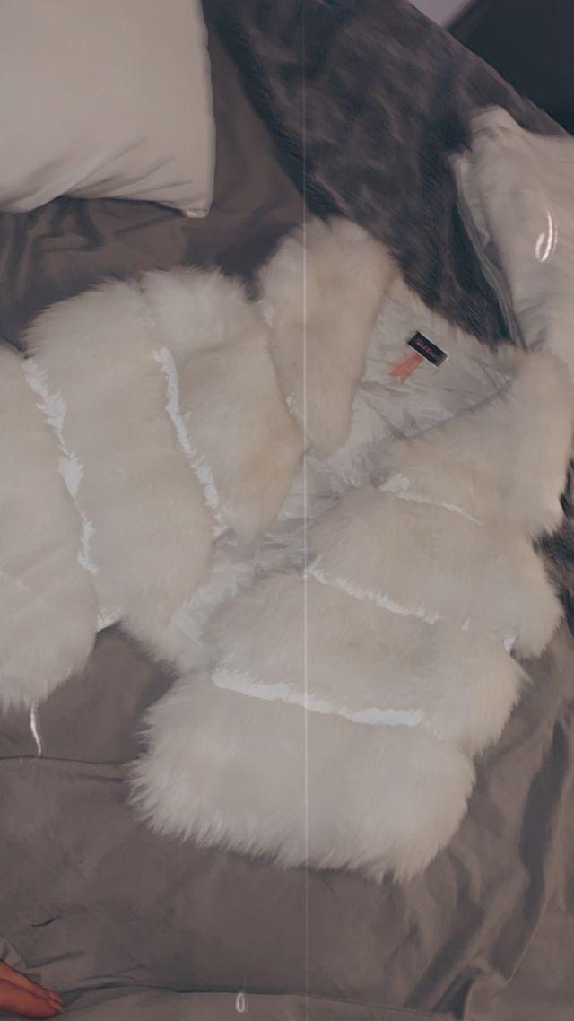 White fur gilet