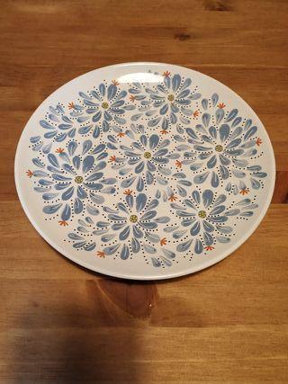 6 platos blanco/azul con diseño