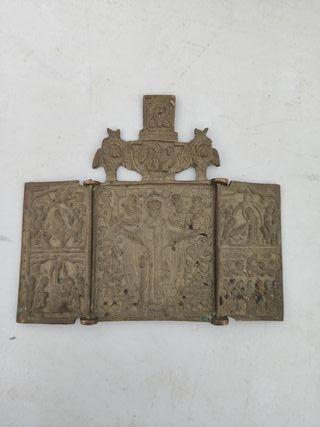 triptico religioso antiguo de bronce
