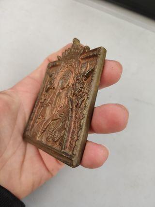 placa de bronce antigua religiosa