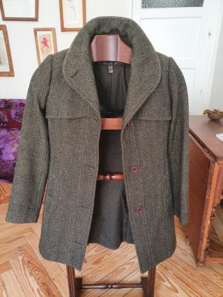 Abrigo de mujer tweed jaspeado verde