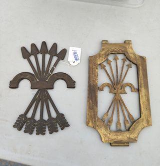 2 placas de bronce de la falange española de epoca