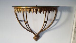 Consola forja pan de oro y cristal