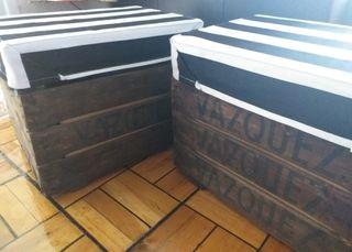 2 Cajas cestos frutas fruteros cajones
