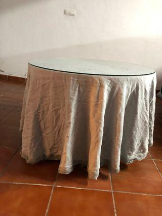 Mesa de camilla con cristal