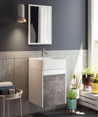 Mueble baño o aseo color blanco y pizarra lavabo c