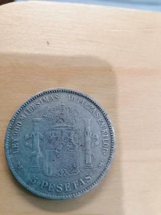 Moneda 5 pesetas Amadeo I