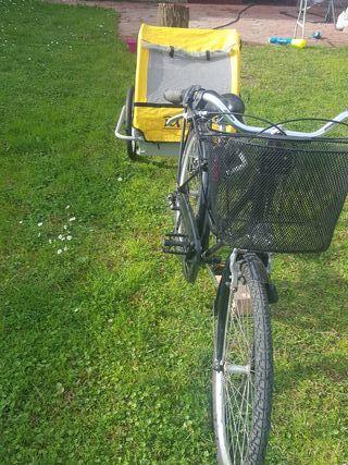 Bicicleta francesa con remolque de niños