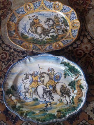 2 antiguas bandejas de cerámica de Talavera de Niv