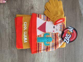 Conjunto bufanda, gorro y guantes. A estrenar