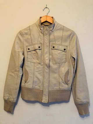 Mango Cream Leather Jacket Size M