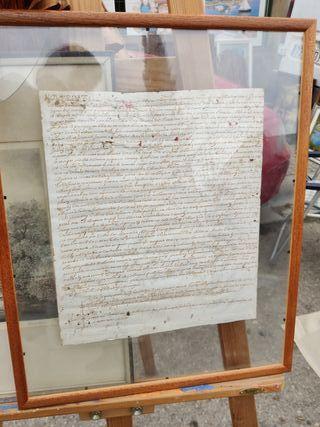 Antiguo Manuscrito enmarcado