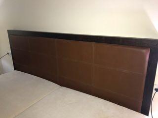 Cabecero Roche Bobois madera y piel. 2 metros