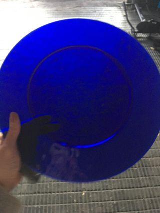 12 Bajo platos cristal azul sin estrenar