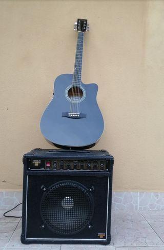 Guitarra electroscustica y amplificador