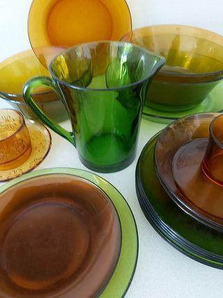 Vajilla Duralex Vereco vintage verde ámbar
