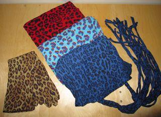 Lote 3 pañuelos y guantes animal print