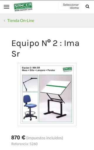 OFERTA Lote Mesa IMASOTO, silla, flexo y paralex