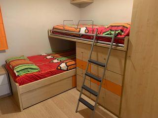 Dormitorio Juvenil litera, Armario y cajones