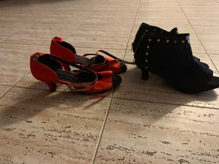 Lote zapatos y botines baile latino