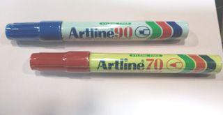 2 rotuladores permanentes rojo/azul