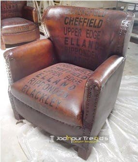 Sillon o sofa tipo Chesterfield cuero Autentico