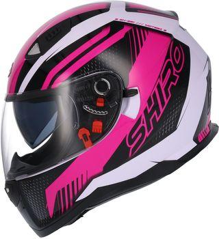 Casco moto integral shiro 881 rosa gafa solar