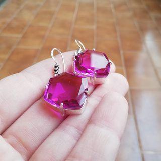Pendientes cuarzo rosa facetado