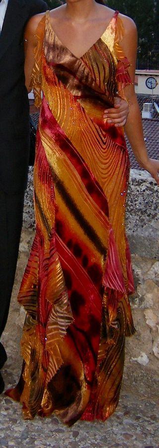 Vestido largo fiesta o boda multicolor talla 40