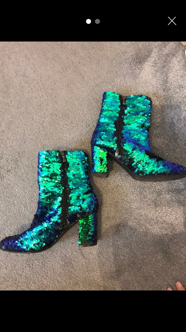 Green Sequin glitter boots size 6