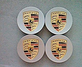 Tapabujes centro de ruedas Porsche oro-plata 76mm.