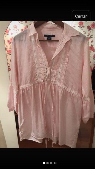 Camisa larga rosa
