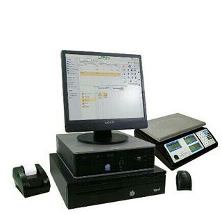 tpv con ordenador, impresora, pistola y bascula