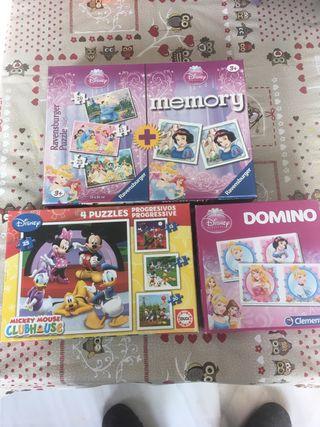 Lote de puzzles y domino para niños disney