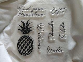 sellos piña aloha paraíso palabras clearstamps