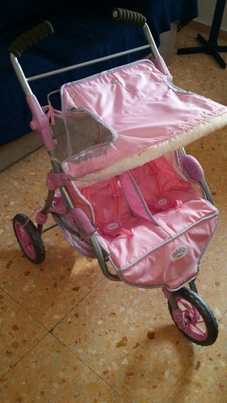 carrito gemelar de baby born y maxi cosi
