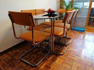 Mesa cristal ahumado con seis sillas