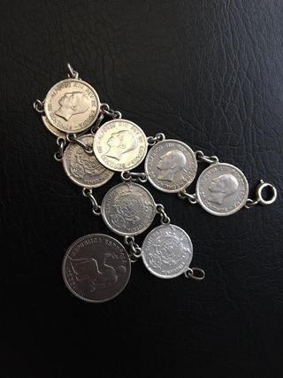 Pulsera monedas de PLATA MACIZA