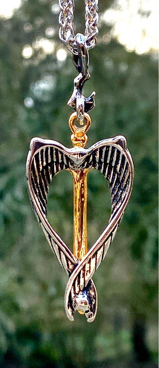 Silver And Gold Plate Sword Of Azrael Angel Pendan