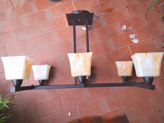 Lampara de forja+2 de mesa a juego