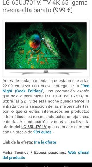 """Televisión SmartTV LG de 65"""" nueva sin estrenar"""