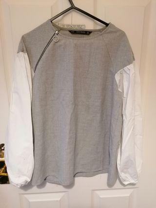 Zara women shirt grey and white