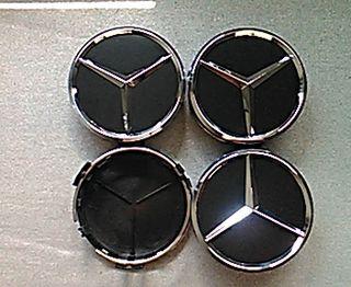 Tapabujes centro rueda Mercedes negro clas 75mm.