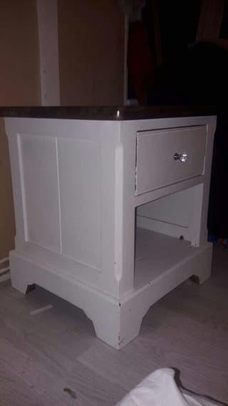 white solid wood side table