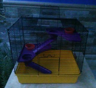 jaula hamster de 2 pisos con toboganes