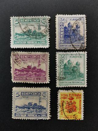 Lote sellos Guerra Civil Cádiz, usados.