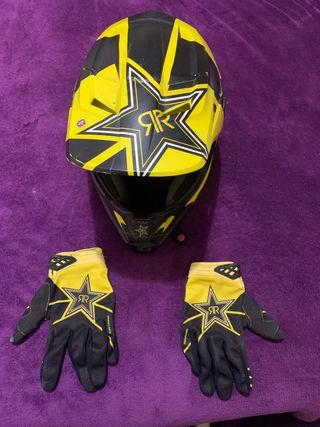 casco fox i guantes